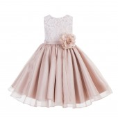 Blush Pink Lace Organza Flower Girl Dress 186F