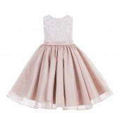 Blush Pink Lace Organza Flower Girl Dress 186
