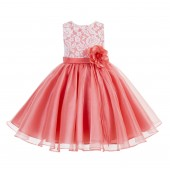 Coral Lace Organza Flower Girl Dress 186F