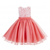 Coral Lace Organza Flower Girl Dress 186