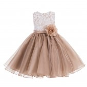 Rose Gold Lace Organza Flower Girl Dress 186F