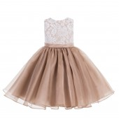 Rose Gold Lace Organza Flower Girl Dress 186