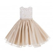 Champagne Lace Organza Flower Girl Dress 186