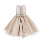 Champagne Lace Organza Flower Girl Dress 186F