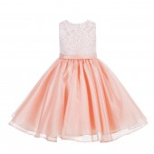 Peach Lace Organza Flower Girl Dress 186