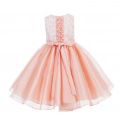 Peach Lace Organza Flower Girl Dress 186F