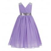 Lilac Sequins Chiffon Flower Girl Dress 187