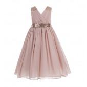 Blush Pink Sequins Chiffon Flower Girl Dress 187