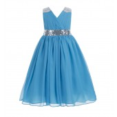 Turquoise Sequins Chiffon Flower Girl Dress 187