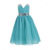 Tiffany Blue Sequins Chiffon Flower Girl Dress 187