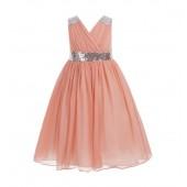 Peach Sequins Chiffon Flower Girl Dress 187