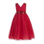 Red Sequins Chiffon Flower Girl Dress 187