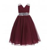 Burgundy Sequins Chiffon Flower Girl Dress 187