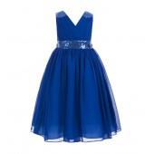 Royal Blue Sequins Chiffon Flower Girl Dress 187