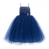 Navy Blue Tulle Rhinestone Tulle Dress Flower Girl 189