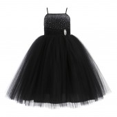 Black Tulle Rhinestone Tulle Dress Flower Girl Ball Gown 189
