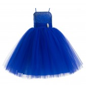 Horizon Blue Tulle Rhinestone Tulle Dress Flower Girl 189
