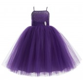 Purple Tulle Rhinestone Tulle Dress Flower Girl 189