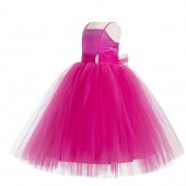 Fuchsia Pink Tulle Rhinestone Tulle Dress Flower Girl 189