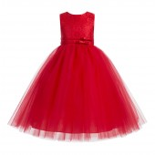 Red Lace Tulle Tutu Flower Girl Dress 188