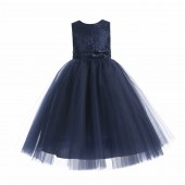 Marine Blue Lace Tulle Tutu Flower Girl Dress 188