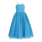 Turquoise Blue Criss Cross Chiffon Flower Girl Dress Summer Dresses 191