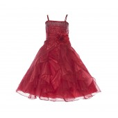 Red Shimmering Organza Rhinestones Flower Girl Dress Occasions J120