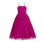 Fuchsia Criss Cross Chiffon Flower Girl Dress Summer Dresses 191
