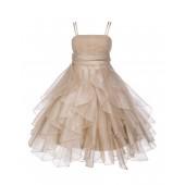 Champagne Ruffled Bodice Spaghetti Strap Organza Flower Girl Dress 151S