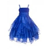 Royal Blue Ruffled Bodice Spaghetti Strap Organza Flower Girl Dress 151S