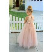 Blush Pink Sequin Halter Flower Girl Dress 202