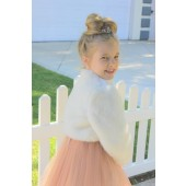 Ivory Faux Fur Flower Girl Cape Jacket Bolero