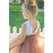 Rose Gold / White Backless Lace Flower Girl Dress V-Back 206R1