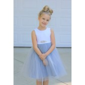 Dusty Blue / White Backless Lace Flower Girl Dress V-Back 206R1
