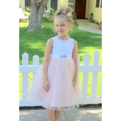 Blush Pink / White Backless Lace Flower Girl Dress V-Back 206R1