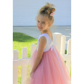 Dusty Rose / White Backless Lace Flower Girl Dress V-Back 206R1