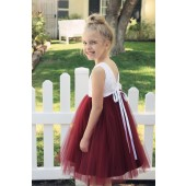 Burgundy / White Backless Lace Flower Girl Dress V-Back 206R1
