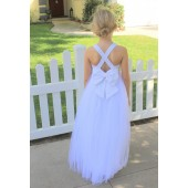 White Crossed Straps Lace Flower Girl Dress 204