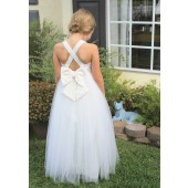 Ivory Crossed Straps Lace Flower Girl Dress 204
