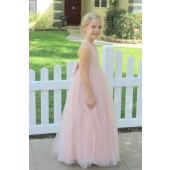 Blush Pink Crossed Straps Lace Flower Girl Dress 204