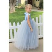 Dusty Blue One-Shoulder Sequins Tutu Flower Girl Dress 182