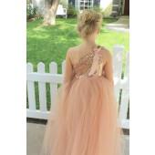 Rose Gold One-Shoulder Sequins Tutu Flower Girl Dress 182