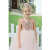 Rose Gold / Blush Pink One-Shoulder Sequins Tutu Flower Girl Dress 182