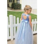 Dusty Blue Sequin Heart Cutout Tulle Flower Girl Dress 172seq