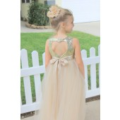Gold / Champagne Sequin Heart Cutout Tulle Flower Girl Dress 172seq