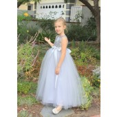 Silver Sequin Heart Cutout Tulle Flower Girl Dress 172seq