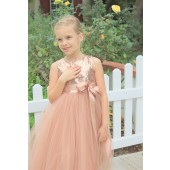 Rose Gold Heart Cutout Tulle Flower Girl Dress 172seq