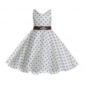 Ivory / Brown Organza Polka Dot V-Neck Rhinestone Flower Girl Dress 184