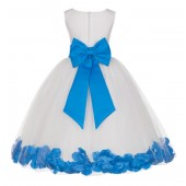 Ivory/Malibu Tulle Rose Petals Flower Girl Dress Pageant 302T