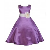 Purple/Ivory A-Line Satin Flower Girl Dress Party Recital 821T